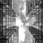 Symmetrical mirrored office buildings